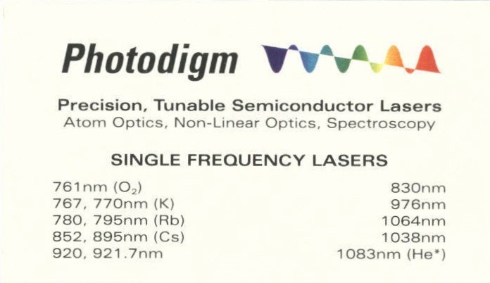 Back of Photodigm business card