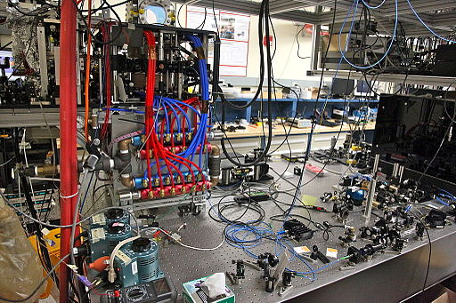 Bose-Einstein_condensate,_a_cloud_of_super-cooled_Rubidium_atoms_in_a_Laser_trap_on_an_Optical_table_-_In_a_game_of_catch__release,_the_atoms_will_shoot_up_a_30_ft._tall_Atomic_fountain_-_Stanford